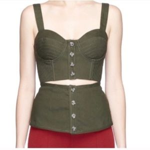 Self Portrait olive green corset going out top